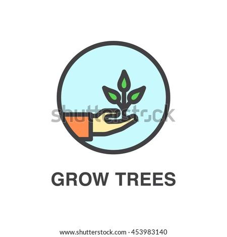 Grow trees vector colored  icon. Ecology concept. - stock vector