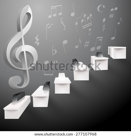 grow up piano black and white stairs and g key and musical notes - stock vector