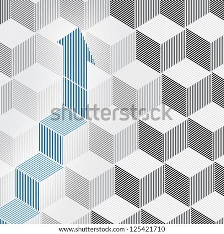 Growing arrow on 3d cubes - stock vector
