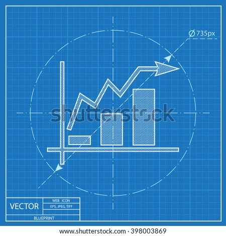 Growing bars graphic blueprint icon rising stock photo photo growing bars graphic blueprint icon with rising arrow malvernweather Choice Image