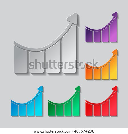 Growing bars graphic with rising arrow icon. Paper style colored set - stock vector