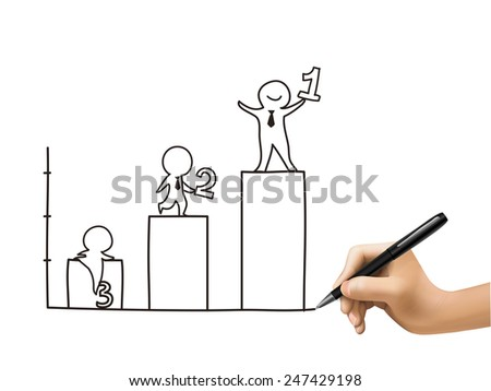 growing business graph drawn by 3d hand over white  - stock vector
