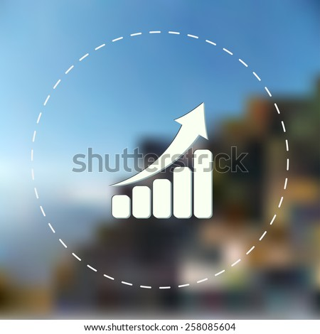 Growing chart icon. Blurred background. Vector illustration.
