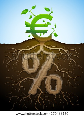 Growing euro sign as plant with leaves and percent sign as root. Financial concept with money symbol and percentage. Vector illustration for banking, financial industry, economy, accounting, etc - stock vector