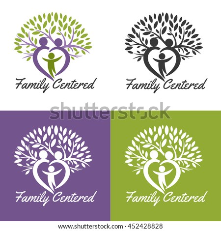 Growing family tree concept, Vector medical logo. Design for health-care organization, spinal surgery clinic, orthopedic and spine center, therapist, massage cabinet.  - stock vector