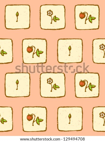 Growing flower phase, vector seamless pattern - stock vector