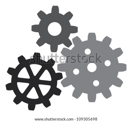 growing gears (gear icon, vector gears icon) - stock vector