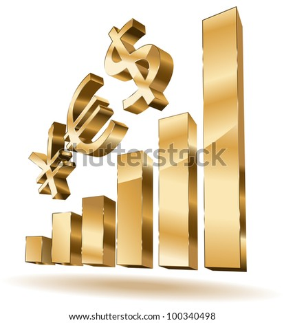 Growing golden bars with yes - currency text - stock vector