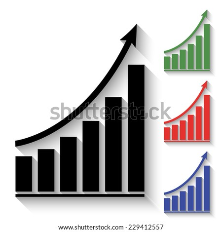 growing graph icon - black and colored (green, red, blue) illustration with shadow