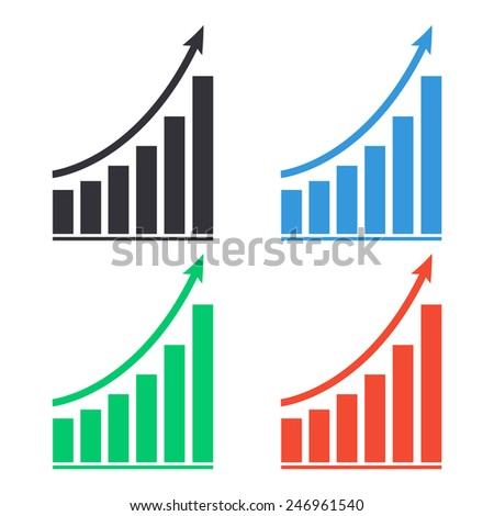 growing graph icon - colored vector illustration