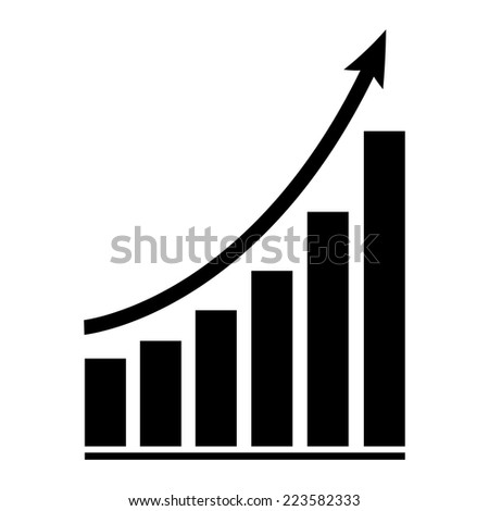 growing graph icon - vector illustration