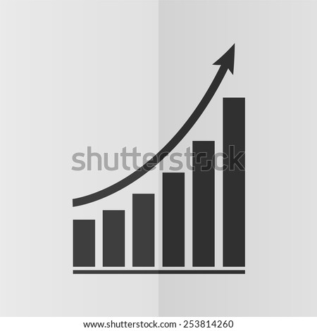 Growing graph vector icon. Effect of folded paper. Flat design - stock vector