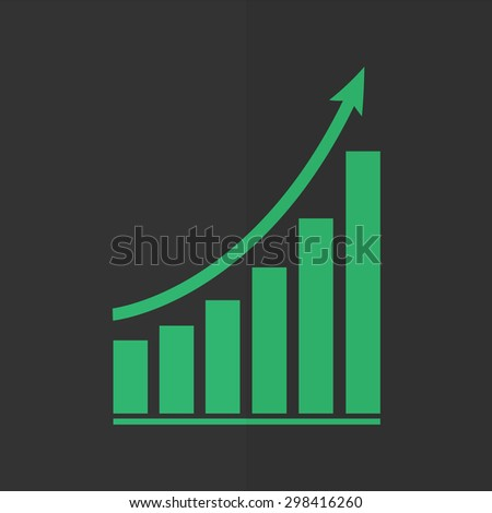 growing graph vector icon. Flat design