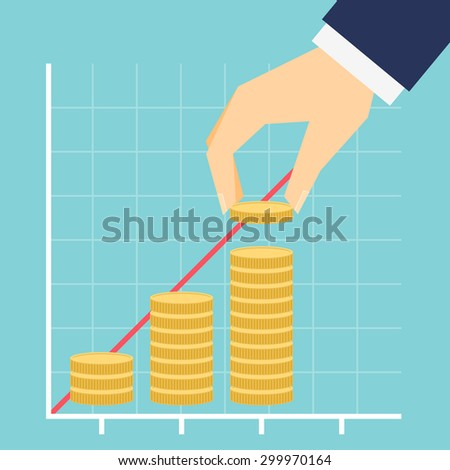 Growing income graph hand and coins stacks simple modern  flat stile vector illustration. - stock vector
