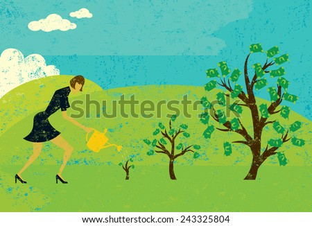 Growing Money Trees A businesswoman watering money trees over an abstract landscape background. The woman and trees are on a separate layer from the background. - stock vector