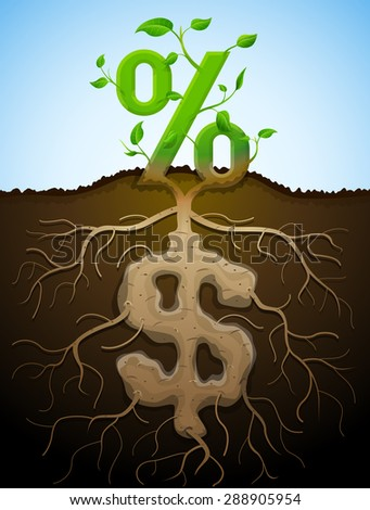 Growing percent sign as plant with leaves and dollar sign as root. Financial concept with money symbol and percentage. Vector illustration for banking, financial industry, economy, accounting, etc - stock vector