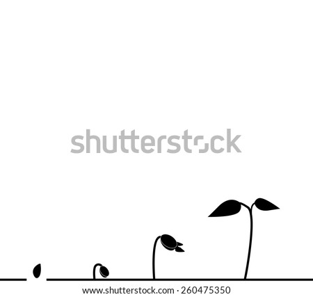 Growing plant in soil - stock vector