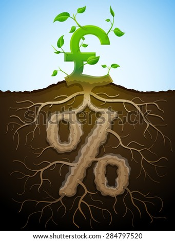Growing pound sign as plant with leaves and percent sign as root. Financial concept with money symbol and percentage. Vector illustration for banking, financial industry, economy, accounting, etc - stock vector