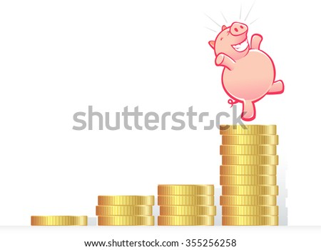Growing Savings-Piggy Bank reaching its goals, expressing financial freedom. - stock vector