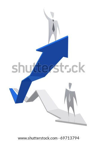 Growing successful interest rate graph with businessman - stock vector