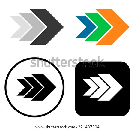 Growing triple right arrows - 4 variations - stock vector