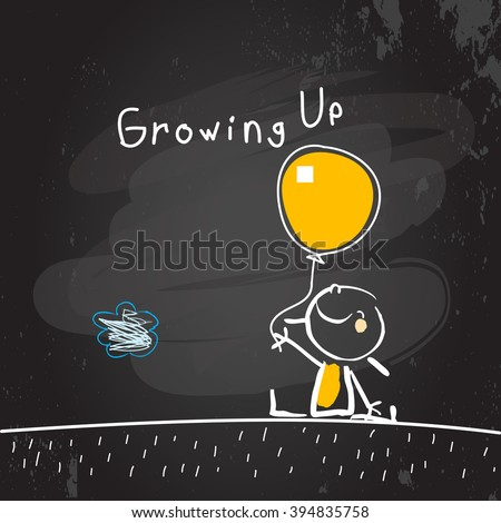Growing up conceptual vector illustration. Kid holding a balloon, chalk on blackboard doodle style hand drawn drawing.  - stock vector