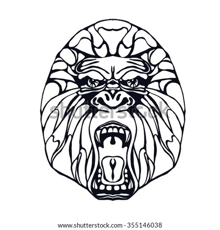 Growling detailed gorilla in line and tattoo style. Design for t-shirt, poster, bag. Vector