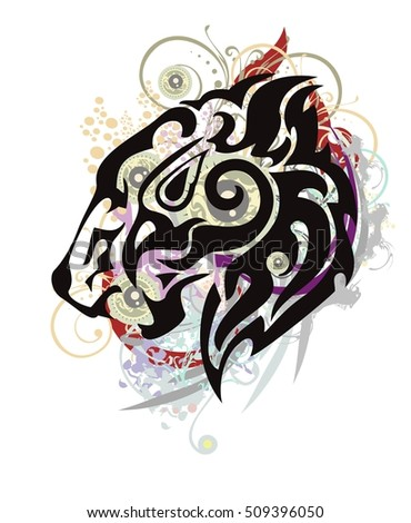 Growling lion head formed by the head of an eagle with colorful splashes. Stylization of the lion head in grunge style