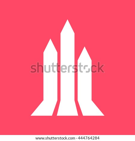 Growth Arrow, Growing Graph white icon on magenta color background. Eps-10.