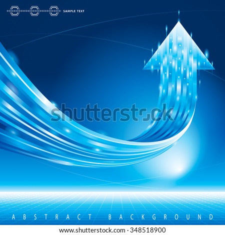 Growth arrow sign abstract technology blue background. - stock vector