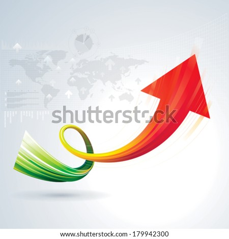 Growth arrow sign with business background. - stock vector