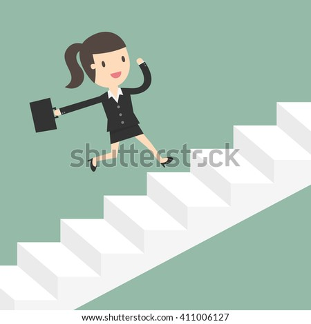 Growth. Business Woman Running Up Stairs. Business Concept Cartoon Illustration.