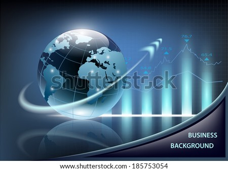 growth chart and planet earth with an arrow on a dark blue background - stock vector