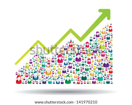 Growth chart and prgresso leading to success - stock vector