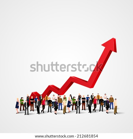 Growth chart and progress in people crowd. Arrows business art info. Profit red arrow with people, Vector illustration