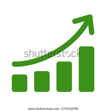 Growth chart (graph) flat art icon for apps and websites - stock vector