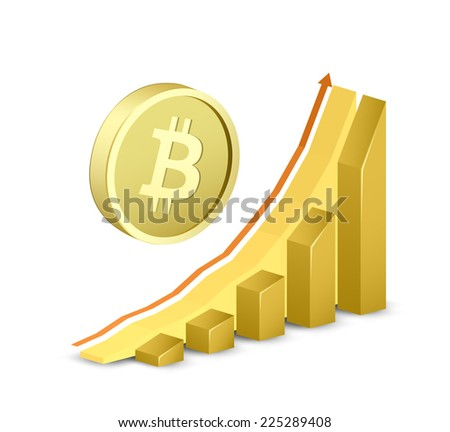 Growth chart with bitcoin sign. Symbol of bitcoin and growing arrow graph. Vector illustration - stock vector