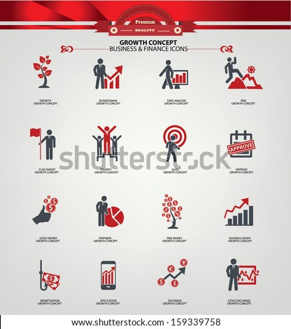 Growth concept icons,Red version,vector - stock vector