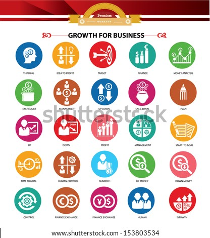 Growth, Finance and analysis icons,Colorful version,vector - stock vector