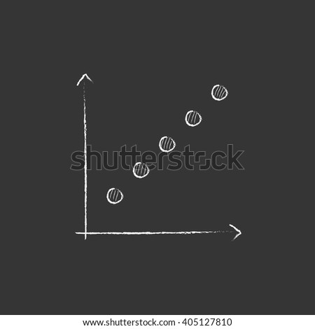 Growth graph. Drawn in chalk icon. - stock vector