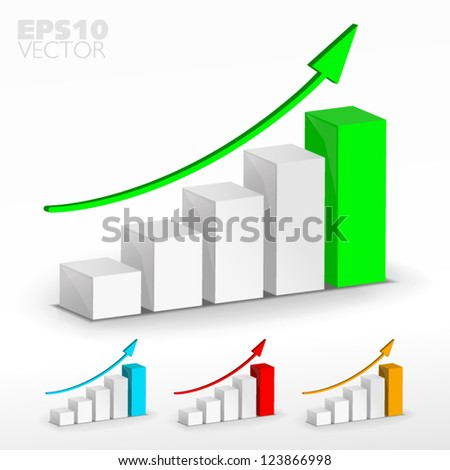 Growth graph set - stock vector