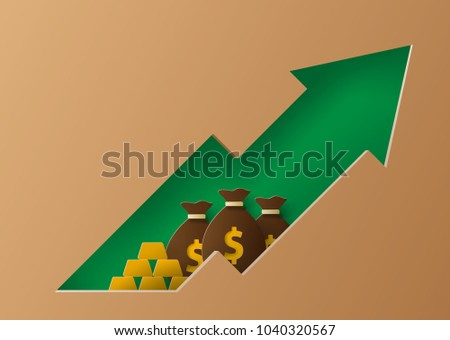 Growth in financial indicators, business profits, investment fund, investment, growth of cash savings, budget planning, income growth concept. Illustration in paper cut art style.