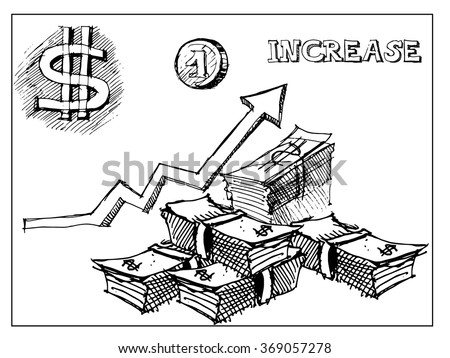 Growth money concept. Vector sketch - stock vector