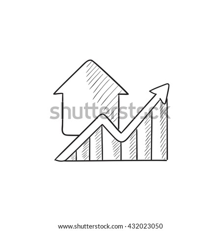 Growth of real estate prices vector sketch icon isolated on background. Hand drawn Growth of real estate prices icon. Growth of real estate prices sketch icon for infographic, website or app. - stock vector