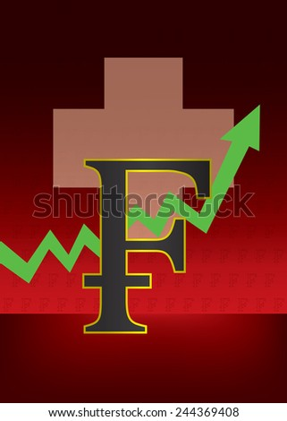 Growth of Swiss currency illustration with Swiss flag and Franc outline symbol pattern in background  - stock vector