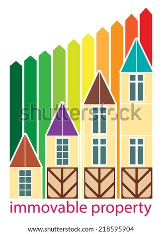Growth price of houses with colored graph - stock vector