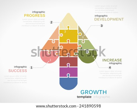 Growth symbol infographic template with puzzled jigsaw arrow - stock vector