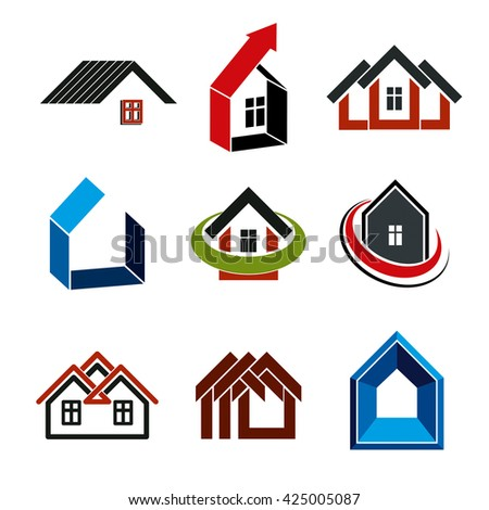 Growth trend of real estate industry, vector simple house icons. Abstract building with an arrow showing up.
