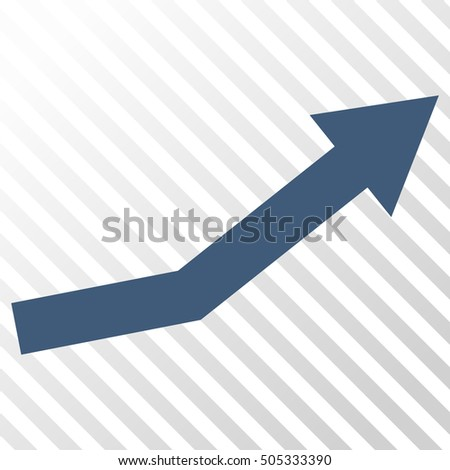 Growth Trend vector icon. Image style is a flat blue pictograph symbol on a hatch diagonal transparent background.