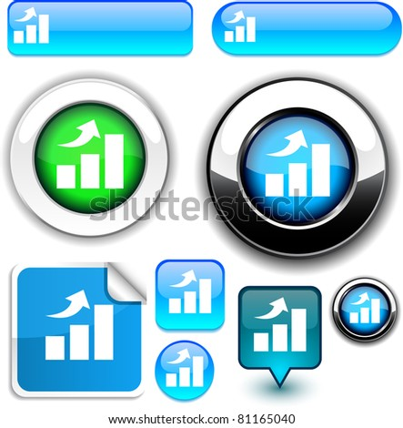 growth vector glossy icons. . - stock vector